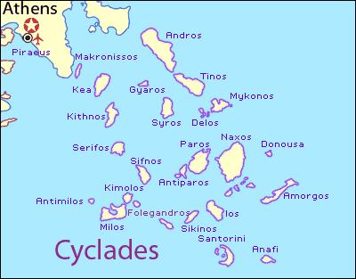 Mappa Cicladi vicino Atene